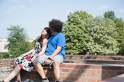 Relaxed young couple spending time outdoors