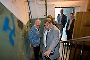 St Petersburg, Russia, 31/05/2005..Peter Dussmann, CEO of the Dussmann Group, visits Russia in connection with contracts his company have signed to upgrade and maintain the city's cleaning and related services. Alexander Volodkov, Dussmann St Petersburg manager, accompanies Dussmann as he meets employees and inspects premises his cmpany is now responsible for.
