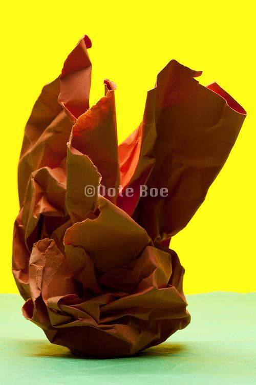 crumbled orange paper