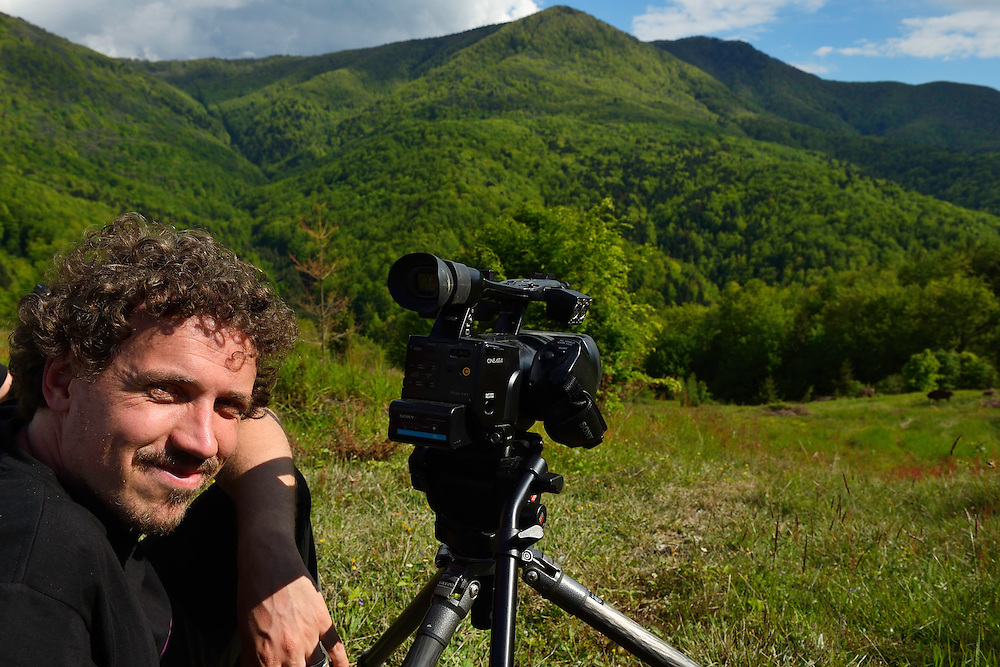 Kristjan Jung, Communicationa manager in Rewilding Europe and Bison watchers in the Tarcu mountains nature reserve, Natura 2000 area, Southern Carpathians, Romania. The release was actioned by Rewilding Europe and WWF Romania in May 2014.