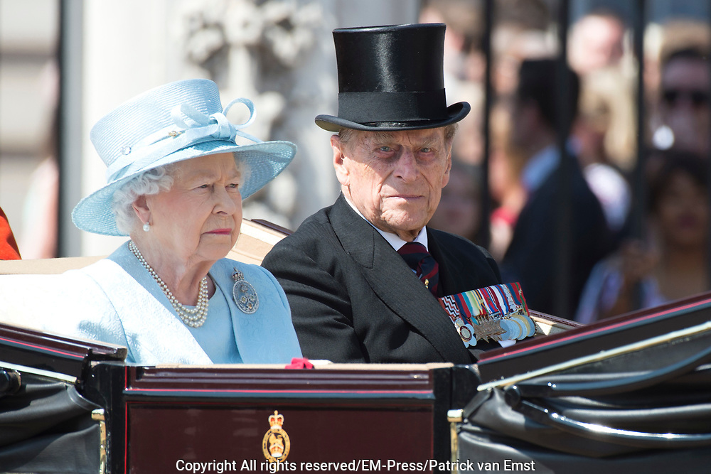Trooping the Colour is a ceremony performed by regiments of the British and Commonwealth armies and as also marked the official birthday of the British sovereign, Queen Elizabeth.It is held in London annually on a Saturday in June on Horse Guards Parade by St. James's Park<br /> <br /> On the photo:  Queen Elizabeth and Prince Philip, Duke of Edinburgh