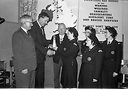 31/03/1963<br /> 03/31/1963<br /> 31 March 1963<br /> Civil Defence Competitions at Jervis Street Hospital, Dublin sponsored by W.D. & H.O. Wills Ltd., for the Gold Flake Trophy. Mr. D.R. Mott, General Manager, W.D. & H.O. Wills Ltd., Presenting the Gold Flake Trophy to Miss Frances Todd, Leader of the Dublin Area 3 (Rathmines) team that won the annual competition for the Dublin Area Civil Defence. Also in the picture are Mr. Michael O'Brien, Dublin Civil Defence Officer; Alderman J.J. O'Keeffe T.D., Lord Mayor and team members Miss Carmel Doyle, Mrs. F. Brierton and Miss Eithne McManus.