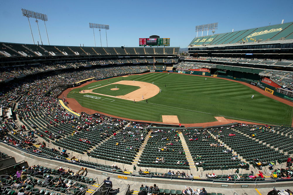 Jul 20, 2021; Oakland, California, USA; An overhead view of RingCentral Coliseum, during the sixth inning of a game between the Los Angeles Angels and Oakland Athletics. Mandatory Credit: D. Ross Cameron-USA TODAY Sports