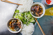 """Traditional vietnamese dish """"bun cha"""", a grilled pork and rice vermicelli based delicacy served with a broth and herbs. Hanoi, Vietnam, Southeast Asia"""