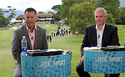 John McHenry with Con Murphy commenting for RTE at the Irish Open in Killarney on Friday..Picture by Don MacMonagle