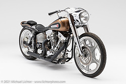 Cole Foster's low and tight custom motorcycle.  Photographed by Michael Lichter in Sturgis, SD. August 3, 2021. ©2021 Michael Lichter