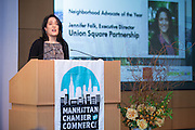 2014  Neighborhood Advocate awardee Jennifer Falk, Union Square Partnership. Celebrating the business leaders in New York City, who have built outstanding businesses - contributing to the economy and community as well. The MCC Business Awards Breakfast is the Manhattan Chamber's premiere event adn was attended by over 250 entrepreneurs, business owners, executives and legislative leaders in New York City. (Photo: www.JeffreyHolmes.com)