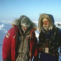 INTERNATIONAL ARCTIC PROJECT. Ulrik Vedel & Victor Boyarsky moments after falling into Arctic Ocean at -40 degrees temp. (MR)