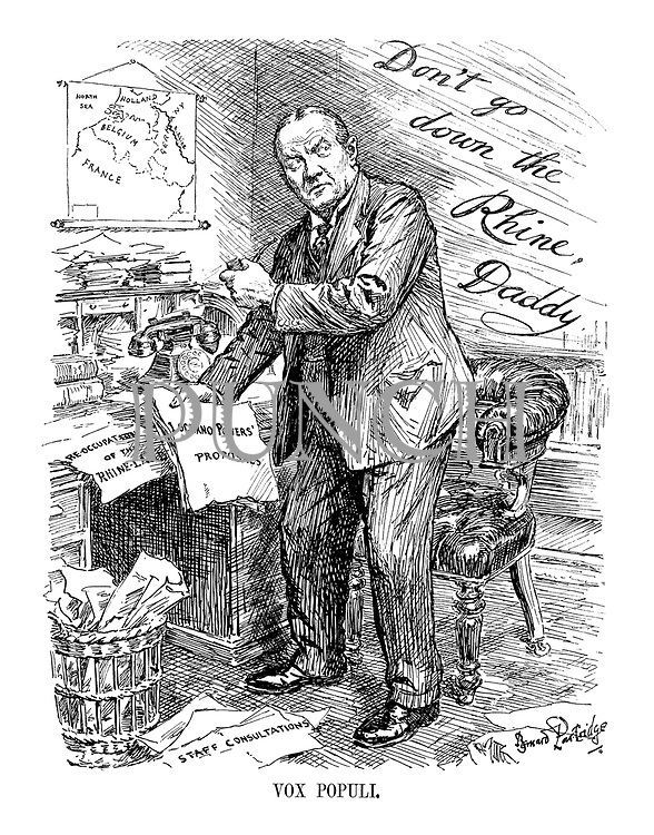 Vox Populi. (Stanley Baldwin ponders the advice of popular opinion 'Don't Go Down the Rhine, Daddy' as he holds headlines 'Locarno Powers' Proposals' and 'Re-occupation of the Rhine-Land', with 'Staff Consultations' on the floor, infront of a map of Belgium, France and Germany)