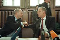 10 JAN 2001, BERLIN/GERMANY:<br /> Rudolf Scharping (R), SPD, Bundesverteidigungsminister, Klaus-Guenther Biederbrick (L), Staatssekretaer im BMVg, im Gespraech, nach einer Pressekonferenz zur Verwendung von uranhaltiger Munition, Bundesverteidigungsministerium<br /> IMAGE: 20010110-02/02-29<br /> KEYWORDS: Klaus-Günther Biederbrick, Staatssekretär