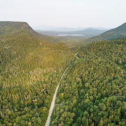 The notch between Tumbledown and Greenlaw Mountains in Northwest Somerset, Maine. Boundary Mountains region. Site of proposed CMP transmission corridor.