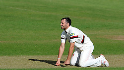 Dejection for Somerset's Lewis Gregory - Photo mandatory by-line: Harry Trump/JMP - Mobile: 07966 386802 - 29/04/15 - SPORT - CRICKET - LVCC Division One - County Championship - Somerset v Middlesex - Day 4 - The County Ground, Taunton, England.
