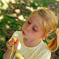 Young girl with ponytails blowing bubbles.