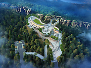 CHONGQING, CHINA - FEBRUARY 11: (CHINA OUT) <br /> <br /> View Corridor Is To Open At Longgang Scenic Spot<br /> <br /> The design sketch of a view corridor at Longgang scenic spot is seen on February 11, 2015 in Chongqing, Sichuan province of China. A view corridor made with steel box girder construction built with a total investment of more than 35 million RMB (about 5.6 million USD) at an altitude of 1,123 meters, which is expected to open in May, 2015<br /> ©Exclusivepix Media