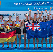 Phoebe Trolove (stroke) (Craighead Diocesan School) Shakira Mirfin (Southland Girls High School), Rebecca Leigh (St Peters School) and Eva Hofmans (Bayfield High School) NZ Junior Womens Quadruple Scull<br /> <br /> Final races at the 2019 Junior Worlds, on the Sea Forest Waterway, Tokyo, Japan. Sunday 11 August 2019  © Copyright photo Steve McArthur / www.photosport.nz