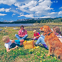 Wiltsie family enjoys picnic by Island Lake in Beartooth Mountains, near Yellowstone in Wyoming.