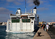 Armas ferry ship 'Volcan de Tindaya' arriving at quayside, Corralejo, Fuerteventura, Canary Islands, Spain