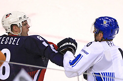 Phil Kessel of USA  at fight with Ville Peltonen of Finland at the end of ice-hockey match Finland vs USA at Qualifying round Group F of IIHF WC 2008 in Halifax, on May 11, 2008 in Metro Center, Halifax, Nova Scotia, Canada. (Photo by Vid Ponikvar / Sportal Images)