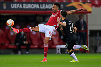 PIRAEUS, GREECE - FEBRUARY 25: Pierre-Emerick Aubameyang of Arsenal FC and Pizzi of SL Benfica during the UEFA Europa League Round of 32 match between Arsenal FC and SL Benfica at Karaiskakis Stadium on February 25, 2021 in Piraeus, Greece. (Photo by MB Media)
