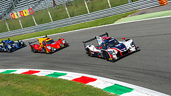 The anglo-american LMP2 car of UNITED AUTOSPORTS (drivers William OWEN, Hugo DE SADELEER, Wayne BOYD) here at Parabolica turn in Monza followed by RACING ENGINEERING #24 and DUQUEINE ENGINEERING #29 during the ELMS 4 hours of Monza 2018.