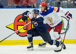 Libor Hudacek of Slovakia vs Viktor Tikhonov of Russia during Ice Hockey match between Slovakia and Russia at Day 10 in Group B of 2015 IIHF World Championship, on May 10, 2015 in CEZ Arena, Ostrava, Czech Republic. Photo by Vid Ponikvar / Sportida