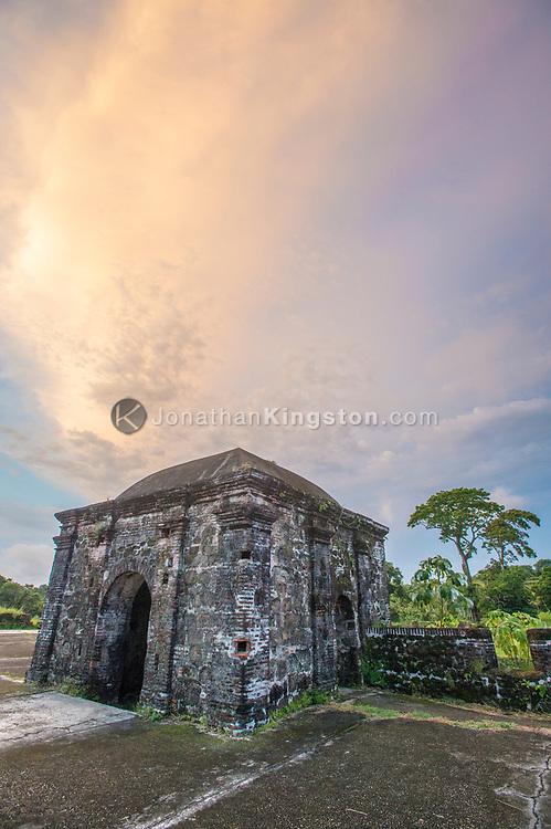 Pastel sunset over a guard tower, Fort San Lorenzo, Colon, Panama.