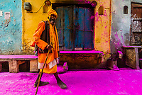 A saddhu (Holy man) walks down the street after a procession has passed throwing colored powders, Chhadi Mar Holi ( a local celebration during Holi, festival of colors), Gokul, near Mathura, Uttar Pradesh, India.