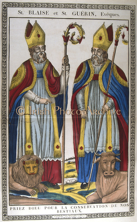St Blaise (Blasius)  Bishop of Sebastea, Capodocia, martyred c.316, and St Guerin. 19th century French coloured woodcut.