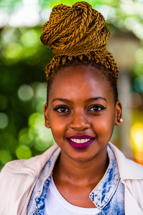 Young South African woman, Sakhumzi Restaurant, Soweto, Johannesburg, South Africa.
