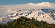 Mount Rainier and High Hut of the Mount Tahoma Trails Association cross country ski and snowshoe hut-to-hut  trail system in the Tahoma State Forest, WA, USA