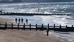Portobello, Scotland, UK. 18 April 2020. Views of the Portobello promenade and beach on a sunny but cld and windy Saturday afternoon during the coronavirus lockdown in the UK . Iain Masterton/Alamy Live News