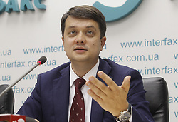 May 27, 2019 - Kiev, Ukraine - Dmytro Razumkov an advisor of Ukrainian President Volodymyr Zelensky and head of the 'Servant of the people' political party seen speaking during the media conference in Kiev..Leaders of the new 'Servant of the People' political party of Ukrainian President Volodymyr Zelensky stated about preparing their political party for upcoming early Parliamentary elections, which will be held on autumn 2019 in Ukraine. (Credit Image: © Pavlo Gonchar/SOPA Images via ZUMA Wire)