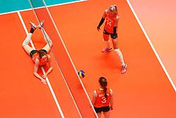 20180531 NED: Volleyball Nations League Netherlands - Brazil, Apeldoorn<br />Lonneke Sloetjes (10) of The Netherlands, Laura Dijkema (14) of The Netherlands <br />©2018-FotoHoogendoorn.nl