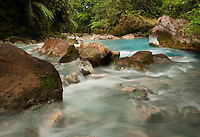 Hot springs on Rio Cesleste Tenorio Volcano National Park Costa Rica