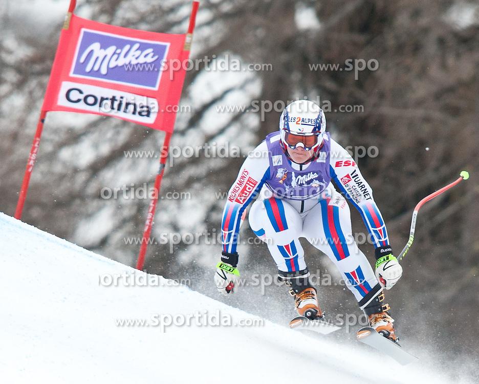 20.01.2011, Tofana, Cortina d Ampezzo, ITA, FIS World Cup Ski Alpin, Lady, Cortina, Abfahrt 2. Training, im Bild Blick von den Tribühnen im Bild Marion Rolland (FRA, #7) // Marion Rolland (FRA) during FIS Ski Worldcup ladies downhill second training at pista Tofana in Cortina d Ampezzo, Italy on 20/1/2011. EXPA Pictures © 2011, PhotoCredit: EXPA/ J. Groder