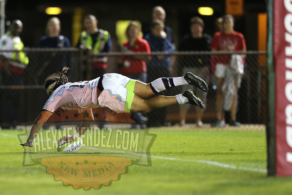 Mike Te'o (15) of the United States dives for a try during the 2016 Americas Rugby Championship match at Lockhart Stadium on Saturday, February 20, 2016 in Fort Lauderdale, Florida.  (Alex Menendez via AP)