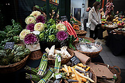 Vegetables for sale at Borough Market on 27th November 2019 in London, England, United Kingdom. Borough Market is a retail food market and farmers market in Southwark. It is one of the largest and oldest food markets in London, with a market on the site dating back to at least the 12th century. A farmers market is a physical retail marketplace intended to sell foods directly by farmers to consumers. Farmers markets may be indoors or outdoors and typically consist of booths, tables or stands where farmers sell fruits, vegetables, meats, cheeses, and sometimes prepared foods and beverages.