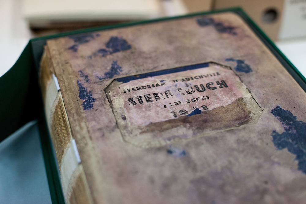 """A preserved so called """"camp death book"""" (in German: Sterbebuch) at the Auschwitz  Museum Preservation lab for documents, books and other historical papers. All together 51 death books were so far preserved and about 3 to 4 employees work on one book for approximately 3 months. The Museum Preservation Department is responsible for protecting everything that remains at the Auschwitz-Birkenau Concentration Camp site."""