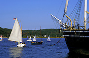 Image of sailboats and the Charles W. Morgan whaling ship at Mystic Seaport, Connecticut, American Northeast by Randy Wells
