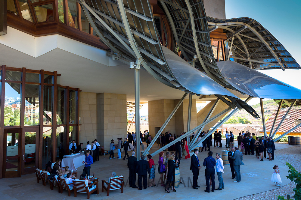 Guests at Hotel Marques de Riscal Bodega designed by architect Frank O Gehry, at Elciego in Rioja-Alavesa area of Spain