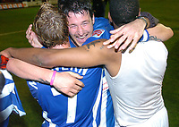 Fotball<br /> England 2004/2005<br /> Foto: SBI/Digitalsport<br /> NORWAY ONLY<br /> <br /> League One - Play off Semi Final<br /> Brentford v Sheffield Wednesday<br /> 16th May, 2005<br /> Sheffield Wednesdays Lee Peacock(centre) celebrates with Jon-Paul Mc Govern and Craig Rocastle after the match.