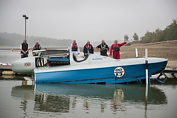 © Licensed to London News Pictures. 26/09/2017. Bewl Water, UK. The fully restored Blue Bird K3 is lowered onto Bewl Water ahead of a test run. Built in 1937 for Sir Malcolm Campbell, the K3 achieved three world water speed records in 1937-8 attaining a speed of 130.91mph. Blue Bird K3 has undergone an extensive restoration and is part of the Foulkes Halbard Collection at Filching Manor Motor Museum near Eastbourne. Photo credit: Peter Macdiarmid/LNP