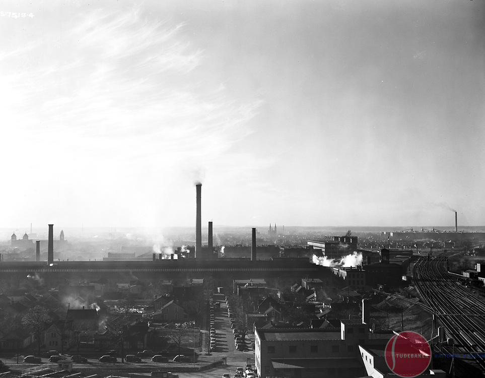 This 1941 image faces west and was taken from the roof of Studebaker Building #84. The Oliver Plow Works is visible in the background, as is the Singer plant on the far right.