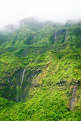 Mount Wai`ale`ale or Waialeale Crater, waterfalls, and Wailua River, Mount Wai`ale`ale summit, the wettest spot on earth with an average of 440 inches of rain per year, Kauai, Hawaii