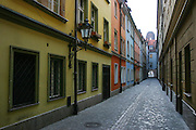 Narrow streets within the Old Town Square, Wroclaw, Poland.
