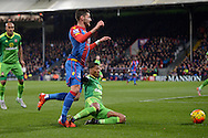 Patrick van Aanholt of Sunderland ® tackles Joel Ward of Crystal Palace. Barclays Premier league match, Crystal Palace v Sunderland at Selhurst Park in London on Monday 23rd November 2015.<br /> pic by John Patrick Fletcher, Andrew Orchard sports photography.