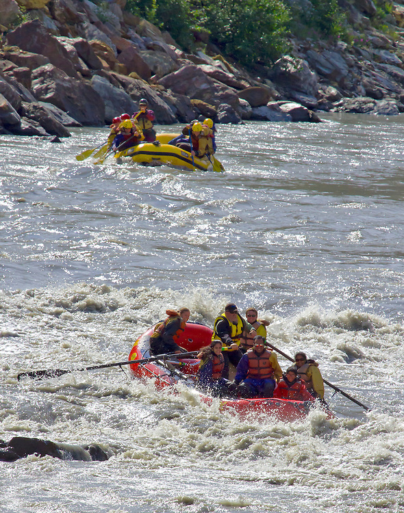Alaska. Whitewater rafting on the Nanana River along the boundary of Denali National Park.