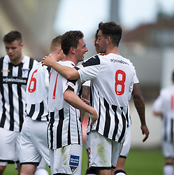 Dunfermline's Joe Cardle (11) cele scoring their seventh goal. <br /> Dunfermline 7 v 1 Cowdenbeath, SPFL Ladbrokes League Division One game played 15/8/2015 at East End Park.