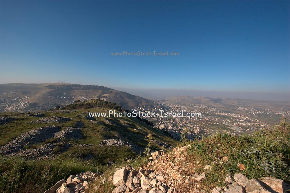 Israel, West Bank, Mount Gerizim Nablus in the background