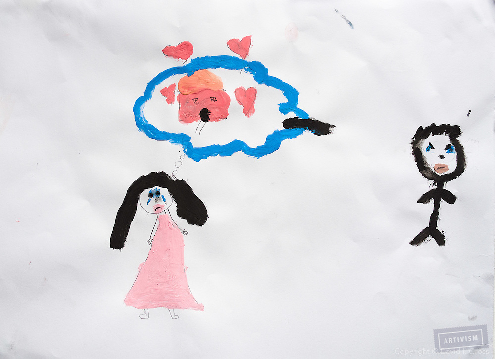 Drawing by a Syrian child refugee. (Note: Arabic writing removed from top-left, probably a name)